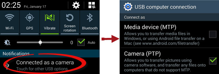 change USB connection mode