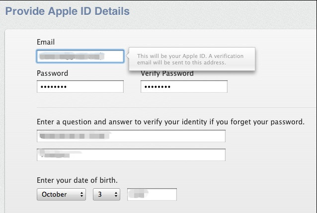 enter apple id details